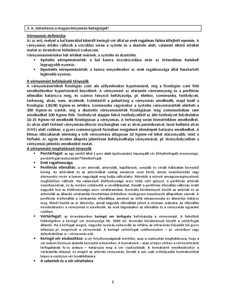 a magasvérnyomás-betegség ápolásának jellemzői)