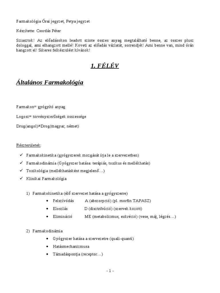 a magas vérnyomás elleni gyógyszerek farmakológiája)